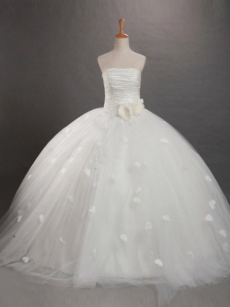 Ball Gown Strapless Ruffles Flower Girl Dress with Tulle