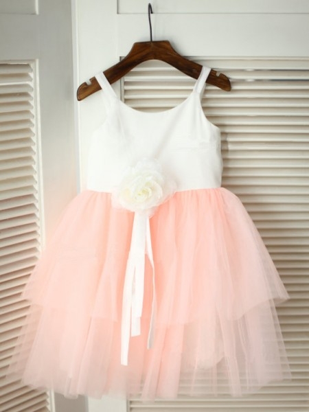A-line/Princess Spaghetti Straps Hand-made Flower Flower Girl Dress with Tulle