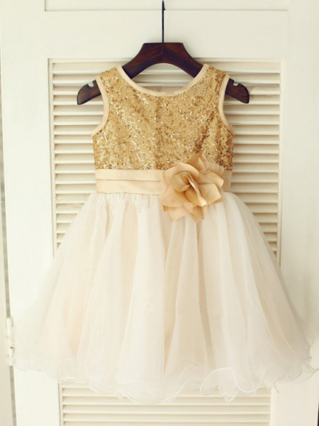 A-line/Princess Scoop Sequin Long Organza Dresses