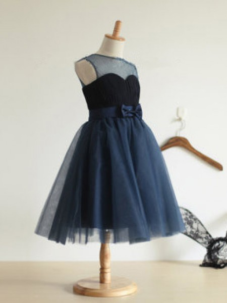 Ball Gown Jewel Bowknot Long Tulle Dress